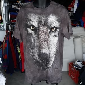 Vintage The Mountain Gray Wolf Tie Dye  T sz Med
